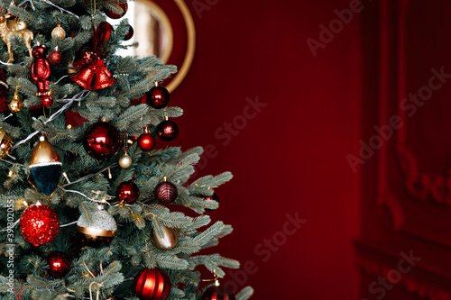 Obraz Beautiful Christmas tree with festive decor, close-up - fototapety do salonu