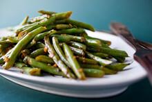Close Up Of Stir Fried Garlic Green Beans