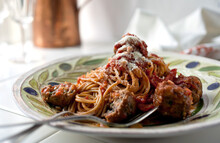 Close Up Of Spaghetti With Meatballs On Plate
