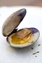 Close Up Of Clams With Lemon Cayenne Butter