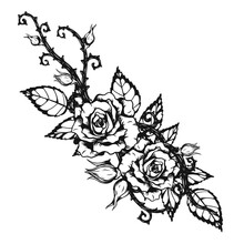 Rose Ornament Tattoo By Hand D...