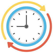 A Flat Design Icon Of Wall Clock With Circular Arrows, Time Processing Concept