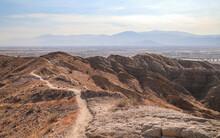 INDIO, CALIFORNIA, UNITED STATES - Oct 18, 2020: Trail Peak On Indio Hills Badlands Hike