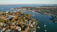 Aerial View Of Colorful Sailboat Moorings And Docks On Spa Creek, In Historic Downtown Annapolis Maryland On A Fall Day