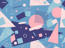80s Style Geometric Seamless Pattern With Muted Colors. Multicolored Vintage Background With Triangles, Circles And Squares For Brochures, Banners And Wrapping Paper. Vector Illustration