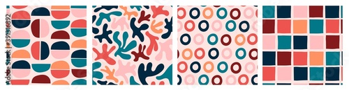 Various colored Abstract shapes. Set of four Colorful abstract Seamless patterns. Background, wallpaper. Hand drawn vector illustration. Pastel colors. Perfect for textile prints