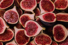 Tasty Figs Background. Top View.