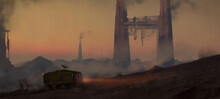 Digital Painting Of Workers And Heavy Equipment Mining On An Alien Planet - Science Fiction Fantasy Illustration