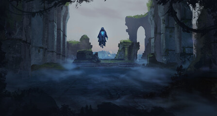 Digital painting of castle ruins with a mysterious undead ghost king floating on a destroyed throne - fantasy illustration