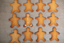 High Angle Close Up Of Gingerbread Men On A Baking Tray.