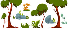 Forest Landscape Elements, Trees, Green Grass, Stones And Mushroom. Vector Cartoon Set Of Summer Garden Or Park Objects, Foliage Plants And Rocks Isolated On White Background