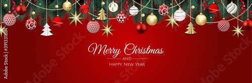 Obraz Christmas vector background. Creative design greeting card, banner, poster. Top view gift box, xmas decoration balls and snowflakes. - fototapety do salonu