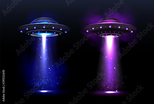 Obraz Alien spaceships, ufo with blue and purple light beam. Vector realistic illustration of futuristic flying saucer, unidentified round rocket. Clipart of galaxy spacecraft, glow rocketship - fototapety do salonu