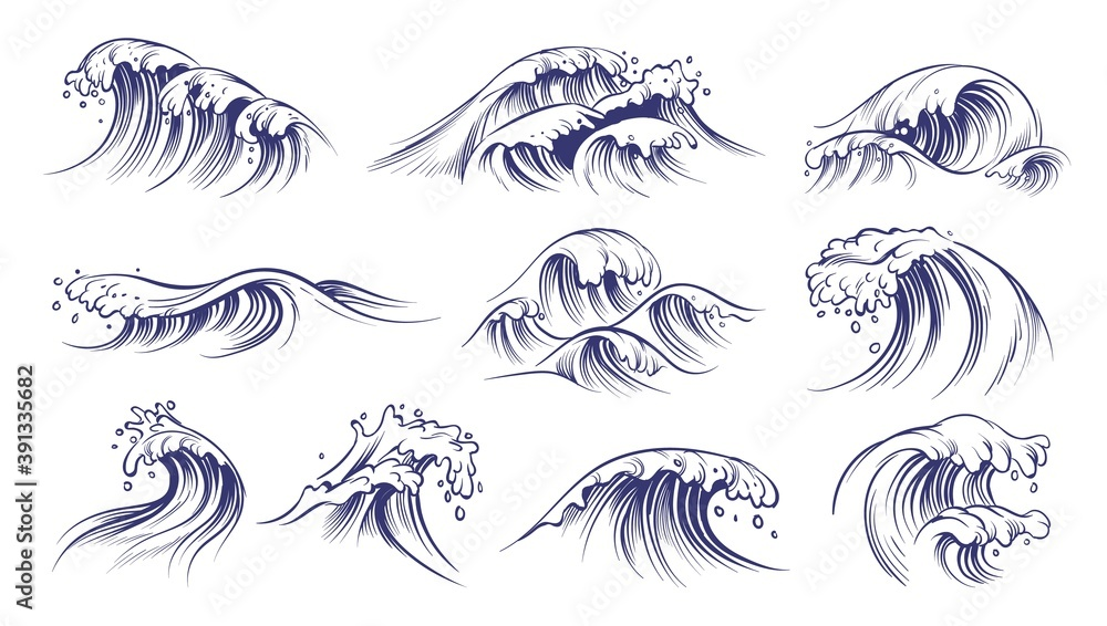 Fototapeta Ocean hand drawn waves. Sketch style sea storm blue water, curly foamy splashes, tsunami and tide vintage collection, surfing season decorative surge wave, vector marine isolated on white set