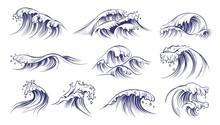 Ocean Hand Drawn Waves. Sketch...