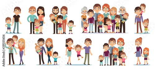 Leinwand Poster Cartoon family characters