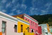 Colourful Houses In The Historic Bo Kaap District In Central Cape Town, South Africa.