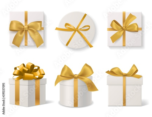 Obraz Realistic decorative gift boxes. 3d gifts white cardboard packaging templates, golden ribbons and bows top and side view, round and square wrapped presents. Vector isolated set - fototapety do salonu