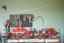 Old Workbench With Some Tools