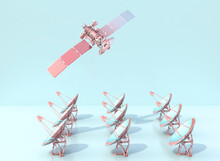Pink Satellite Flying Above Rows Of Satellite Dishes