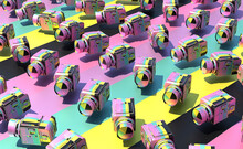 Rows Of Pastel Analog Cameras