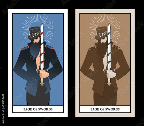 Fototapeta Page or knave of swords with top hat holding a sword with flowers and leaves