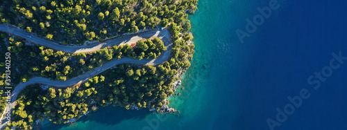 Fototapeta Aerial drone ultra wide top down panoramic photo of curvy snake road crossing through vegetated tropical forest by the sea obraz