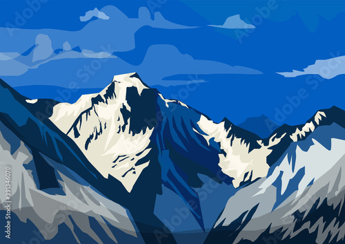 Landscape of Alps - highest and most extensive mountain range Fototapet