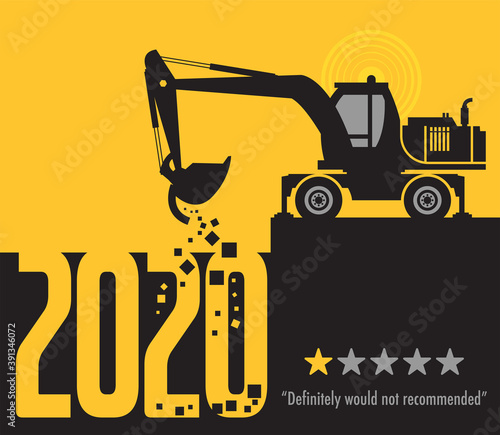 Slika na platnu Tractor excavator at work on the construction site, 2020 One Star Rating