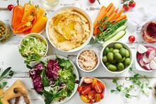 Hummus Dip And Healthy Vegetar...