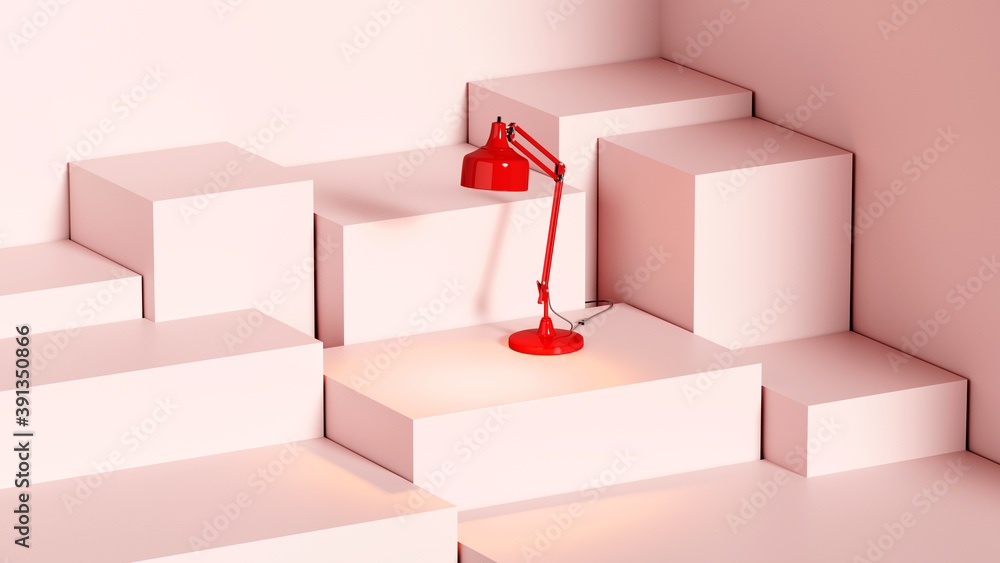Fototapeta red glowing table lamp on a pink stand made of cubes, template or wallpaper, 3d rendering