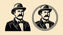 Gentleman, Sir Symbol. Portrait Of Businessman Vintage Sketch Vector Illustration