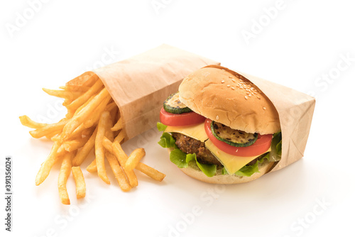 Fototapeta Beef burger with french fries obraz