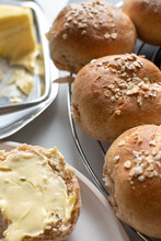 Home Made Bread Rolls With Butter Dish