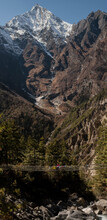 Spirit Of Himalayas - Beautiful Landscape - Annapurna Peak And Suspension Bridge By The Foot Of A Mountain