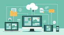Cloud Computing Technology Network With Computer Monitor, Laptop, Tablet, And Smartphone, Online Devices Upload, Download Information, Data In Database On Cloud Services, Vector Flat Illustration
