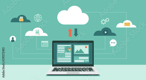 Obraz Cloud computing technology network with laptop computer, Online devices upload, download information, data in database on cloud services, vector flat illustration - fototapety do salonu