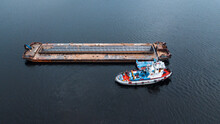 Top-view Of A Small Ship Near ...