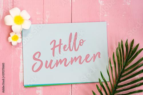 Fényképezés Beautiful summer holiday, Beach accessories, flower and palm lea