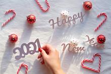 Happy New Year 2021 Text. Chri...