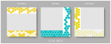 Social Media Editable Post Banner With Hexagonal Structure. Web Banners For Social Media. Clear And Simple Colorful Honey Design, Vector Illustration.