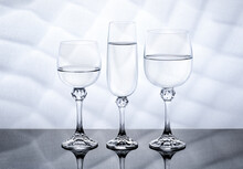 3 Wines Cups Of Glass In White...