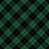 Diagonal tartan Christmas and new year plaid. Scottish pattern in green and black cage. Scottish cage. Traditional Scottish checkered background. Seamless fabric texture. Vector illustration - 391393603