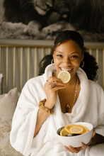 Black Woman Self Care Sunday At Home In Bed
