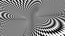 4k Seamless Loop. Chess Illusion Geometric Kaleidoscope. Wormhole Room. Black