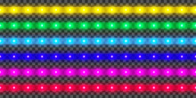 LED Strip Collection. Colorful Glowing Illuminated Tape Decoration. Realistic Neon Lights