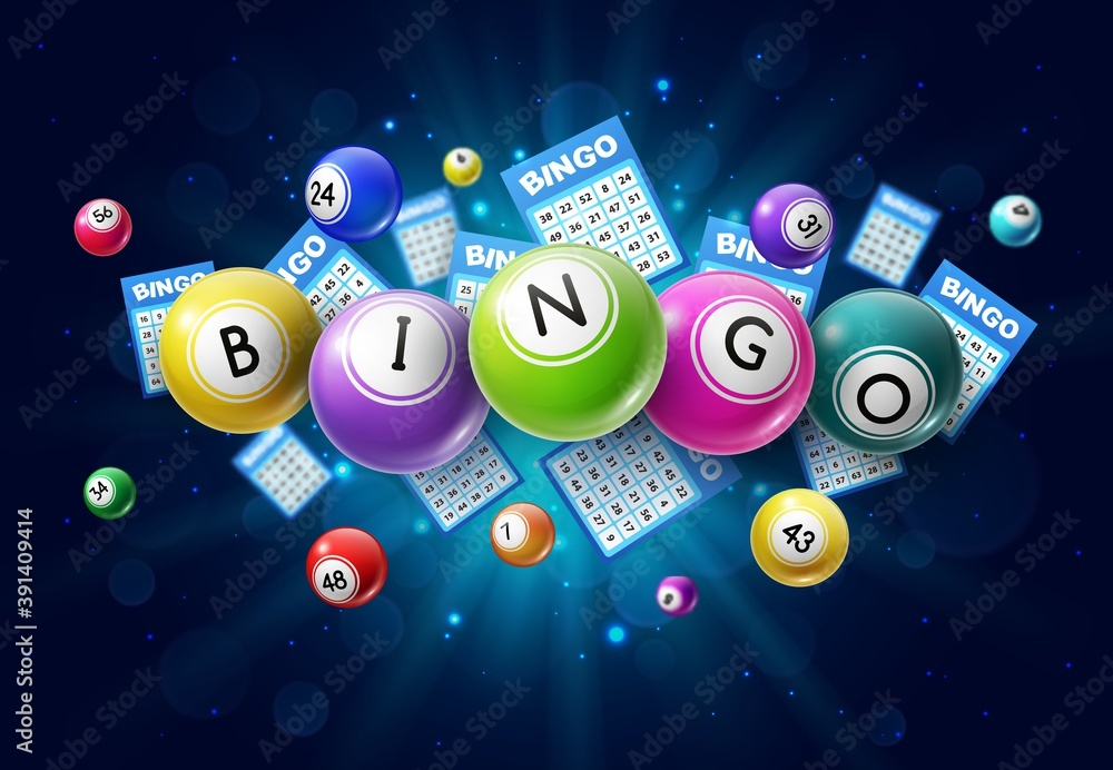 Fototapeta Bingo lotto game balls and lottery cards with lucky numbers on glowing background with sparkles. Vector poster for bingo lottery tv show, keno raffle and lotto win tickets gambling and win chance game