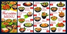 Thai Cuisine Vector Menu Meals Template. Spring Rolls, Thai Salad With Beef And Seasame, Rice With Coconut Milk And Shrimp, Coconut Milk Fish Soup, Calamari Salad, Tom Yam Kung. Asian Food Dishes