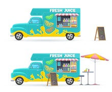 Fresh Juice Food Truck Isolated Vector Retro Van With Cold Drinks, Beach Umbrella Chalkboard Menu And Table With Chair. Cartoon Transportation Car For Street Or Beach Beverages Selling, Cafe On Wheels