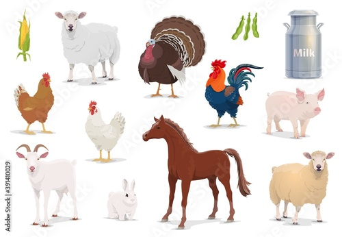 Farm animals cartoon vector sheep, turkey and cock, pig, goat and horse with chicken and rabbit. Corn, milk in tin can and bean pods, farm husbandry production, healthy eco food isolated icons set